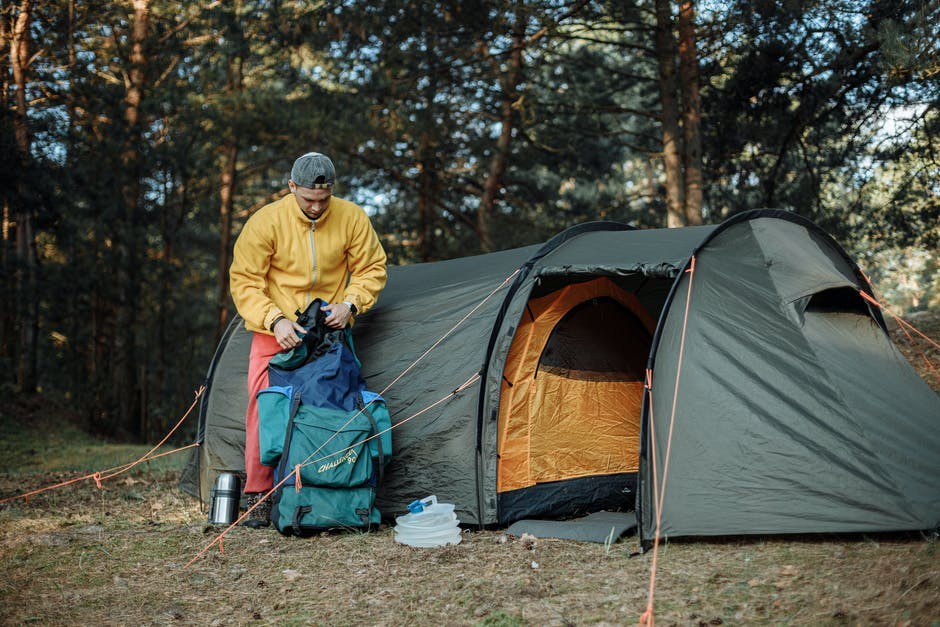 A person in a tent